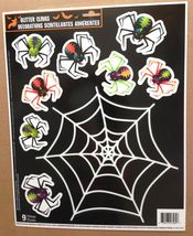 Glitter Window Cling Decal-ARACHNOPHOBIA SCARY SPIDER & WEB-Halloween De... - $4.92