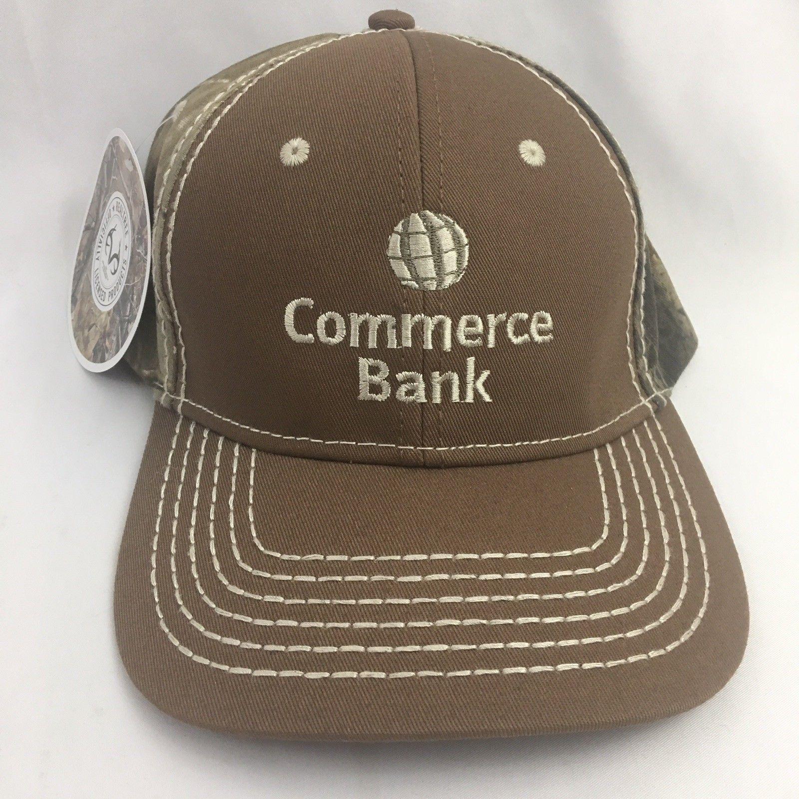 Commerce Bank Realtree Camo Baseball Cap Hat Embroidered Logo NWT Mens