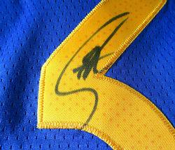 STEPHEN CURRY / AUTOGRAPHED GOLDEN STATE WARRIORS BLUE PRO STYLE JERSEY / COA image 5