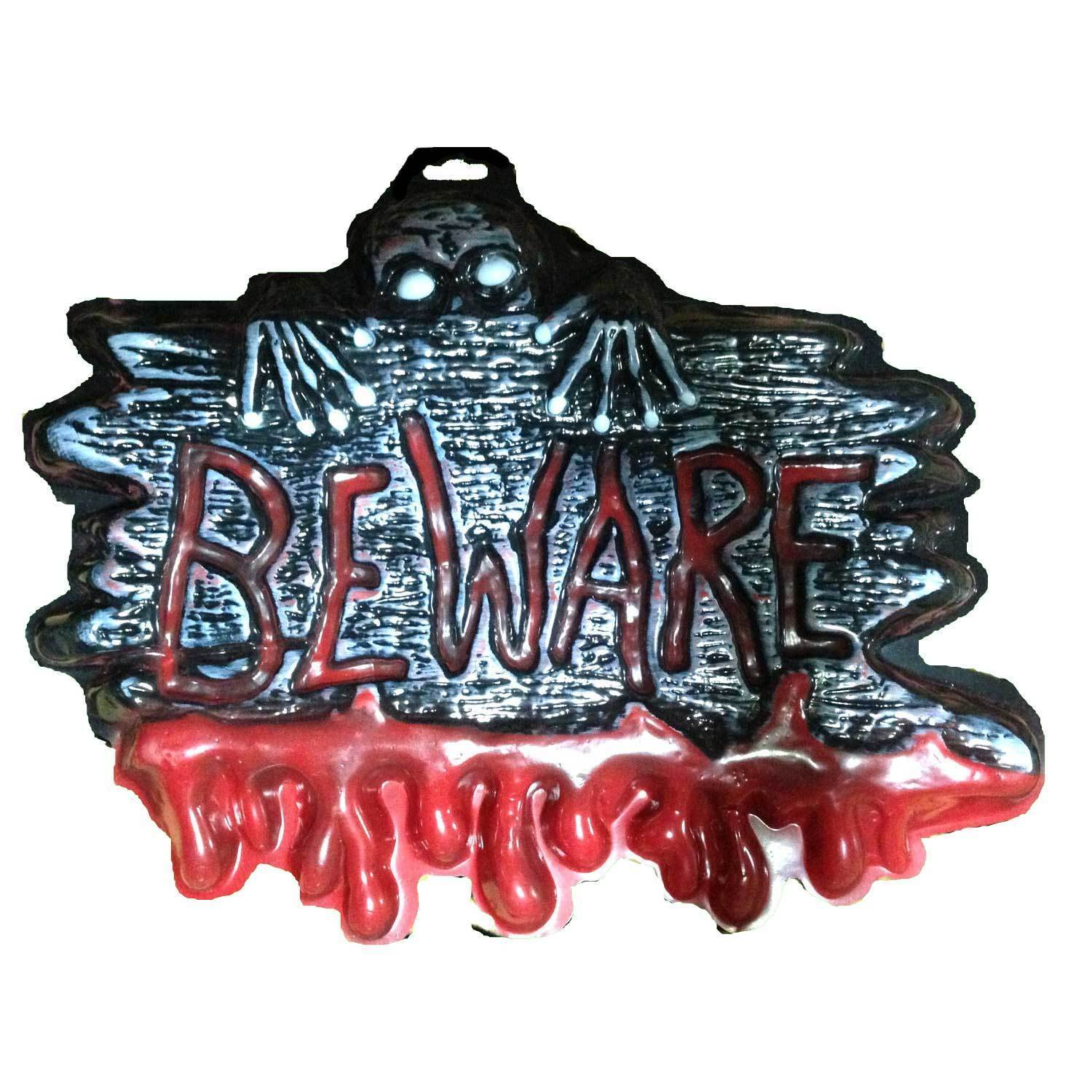 Bloody Warning Sign-BEWARE-Man Cave Teen Room Halloween Party Horror Decoration