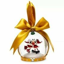Disney Parks Mickey & Minnie Ice Skating Mistletoe Kissing Blown Glass O... - $24.74