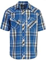 Gioberti Men's Turquoise Plaid Western Cowboy Rodeo Short Sleeve Shirt Medium