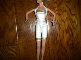 Vintage 1990's Mattel Barbie White/Gold One Piece Jumpsuit Romper - $5.93