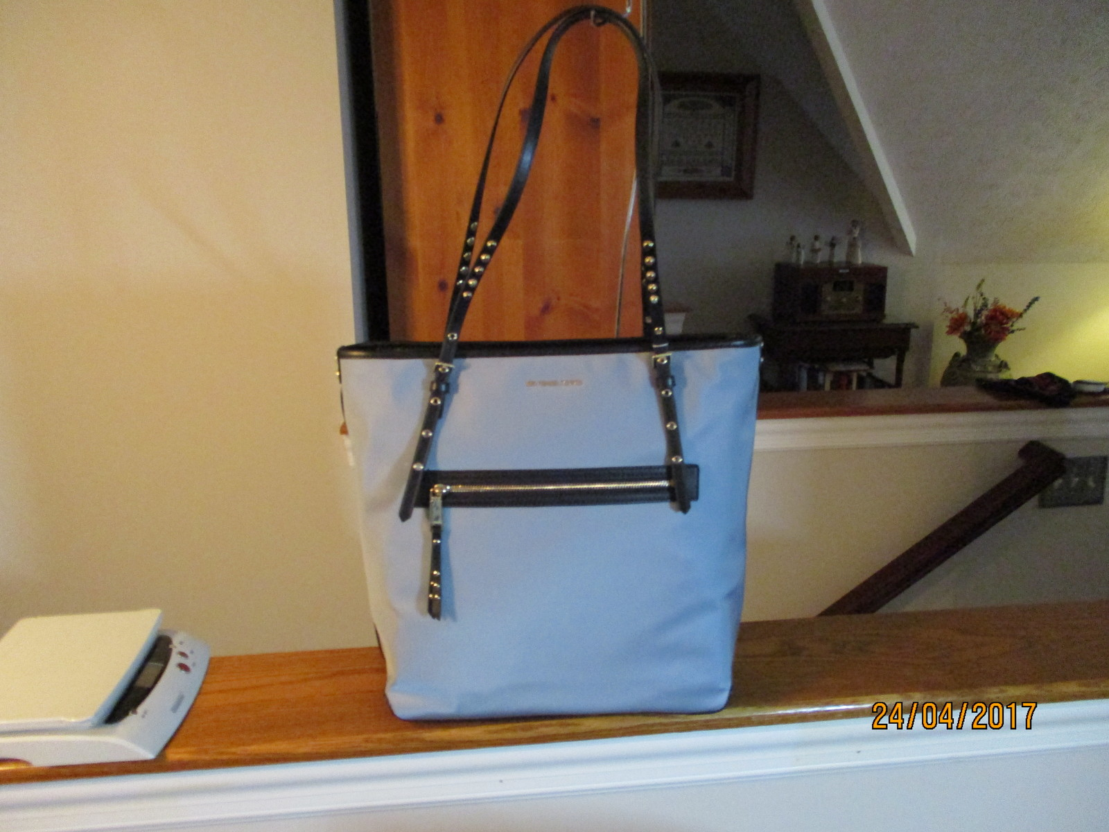 Authentic Michael Kors Leila Pale Blue Large Nylon Tote Bag New With Tag