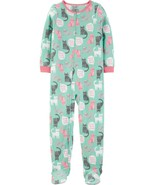 Carter's Fleece Footed Pajama Blanket Sleeper 7 10 12 Mint Cat Need More... - $23.74
