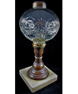 Antique Flame Bullseye Composite Kerosene or Oil Stand Lamp Crystal Clea... - $94.55