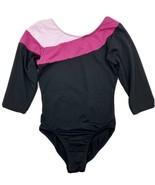 Danskin Freestyle Girls Leotard M (7/8) Black Pink 3/4 Sleeve Dance Gymn... - $9.90