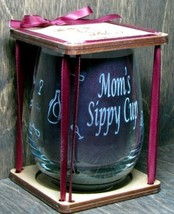 Mom's Sippy Cup 360 Degree Engraved Stemless Wine Glass - $26.34