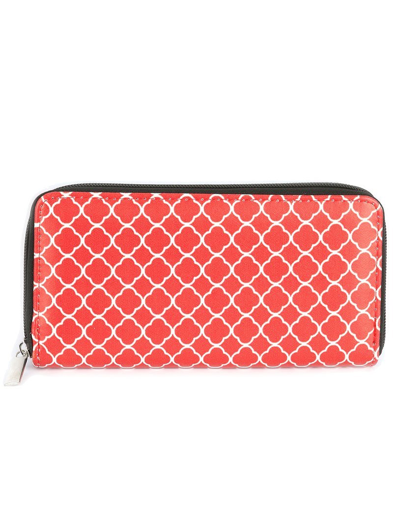 Quatrefoil Print Zip Around Wallet Clutch Purse (Red)