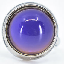 Classic Simple Silver Tone Round Cabochon Color Changing Adjustable Mood Ring image 7
