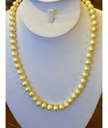 "Golden Edison Pearl Necklace 20"" Freshwater 10mm Silver 925 strand Yello... - $44.50"