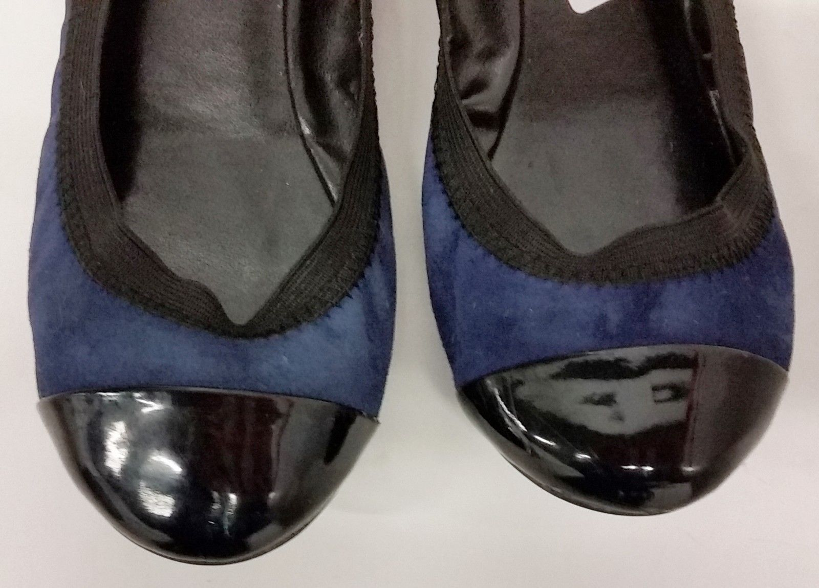 Cole Haan Shoes Ballet Flats Patent Leather Toe/Heel Black/Blue  Womens Size 6B
