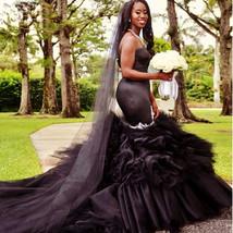 Black Mermaid Wedding Dress Vintange gothic Sweetheart Wedding Gowns image 7