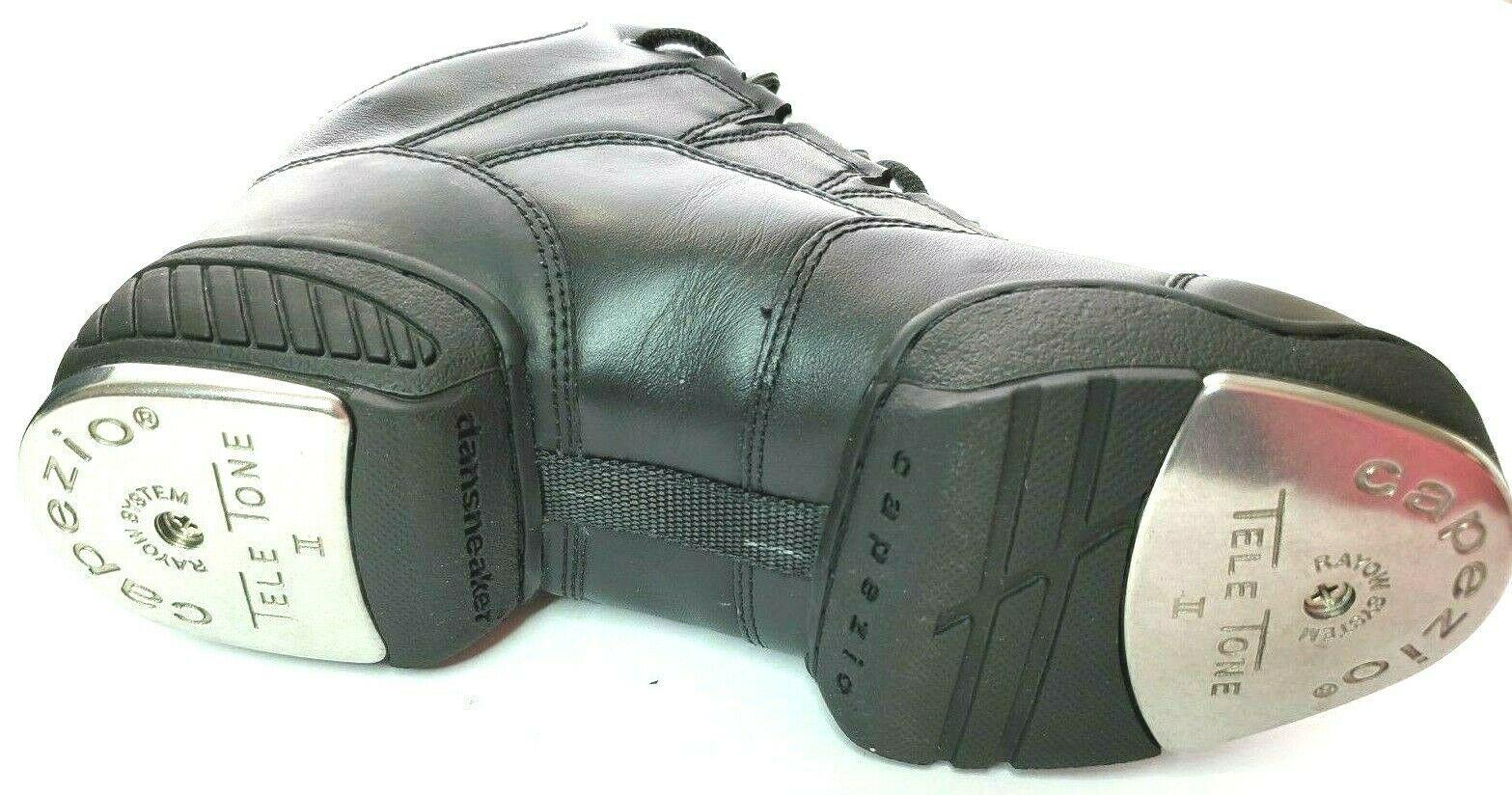 Capezio Dansneaker Womens Size 6 M Tele Tone II Tap Shoes Black Lace Up  Dri Lex