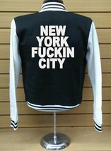 Varsity Collage Baseball BLACK/WHITE Fleece Jacket New York Fuckin City - $29.99