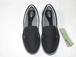 Womens crocs standard fit Walu II Canvas loafer w black graphite shoe W 6 W6 - $32.07