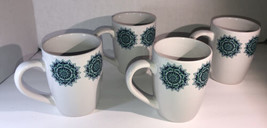 Set Of 4 Royal Norfolk TEAL/WHITE Stoneware 12 Oz Coffee Mugs CUPS-NEW-SHIPN24HR - $39.48