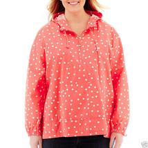 St. John's Bay Polka Dot Popover Polka Dot Anorak Jacket Size PL, PXL Ne... - $19.99