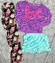 Justice Sequin LOVE Zebra Top + Lemon Loves Lime Ruffle Skort Floral Jeg... - $34.65
