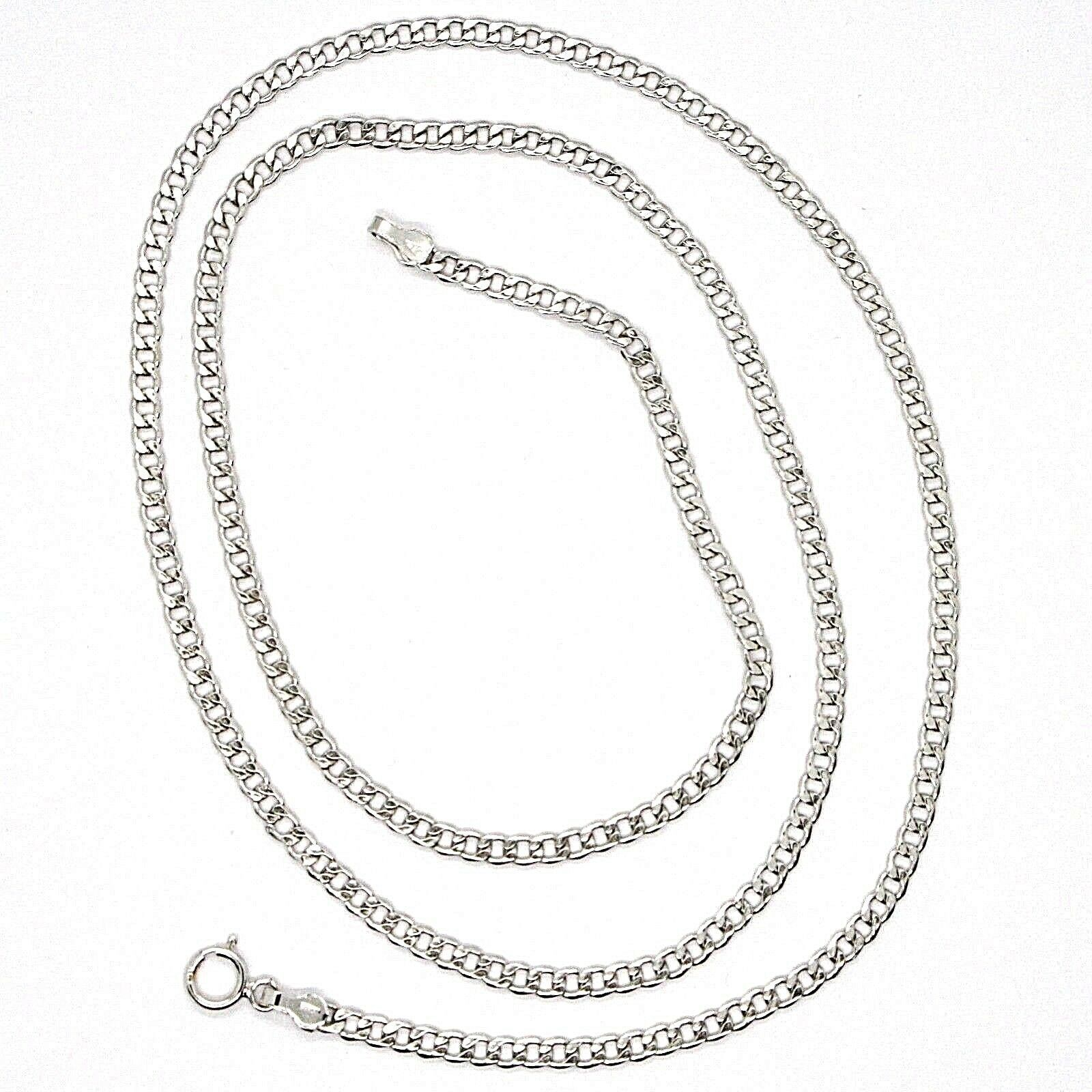 18K WHITE GOLD GOURMETTE CUBAN CURB CHAIN 2 MM, 19.7 inches, NECKLACE