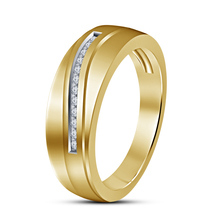 Mens Wedding Band Diamond Ring 14k Yellow Gold Finish 925 Sterling Solid Silver - $73.03