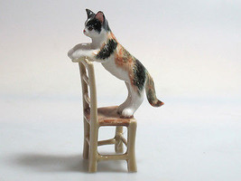Porcelain Miniatures Collectible Ceramic Cat on Chair FIGURINE Animals - $14.85