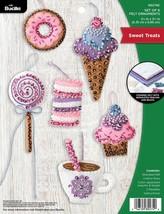 Bucilla Felt Ornaments Applique Kit Set Of 6-Sweet Treats - $19.86