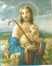 "Catholic Print Picture Jesus Good Shepherd by Simeone 8x10"" ready to frame - $13.98"