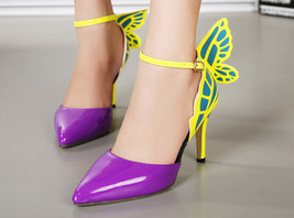 84H077 Cute butterfly strappy ankle pumps Size 5-9.5, violet - $52.80