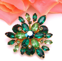 Two Tone Green Rhinestone Spray Pin Vintage Unsigned Beau Jewels Brooch - $24.95