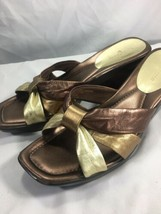 Liz Claiborne Faye Strappy Leather Wedge Slide Sandals Rose Gold Metalli... - $29.67