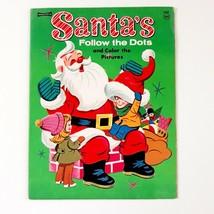 Vintage Saalfield Christmas Coloring Book Follow The Dots With Santa 163... - $24.99