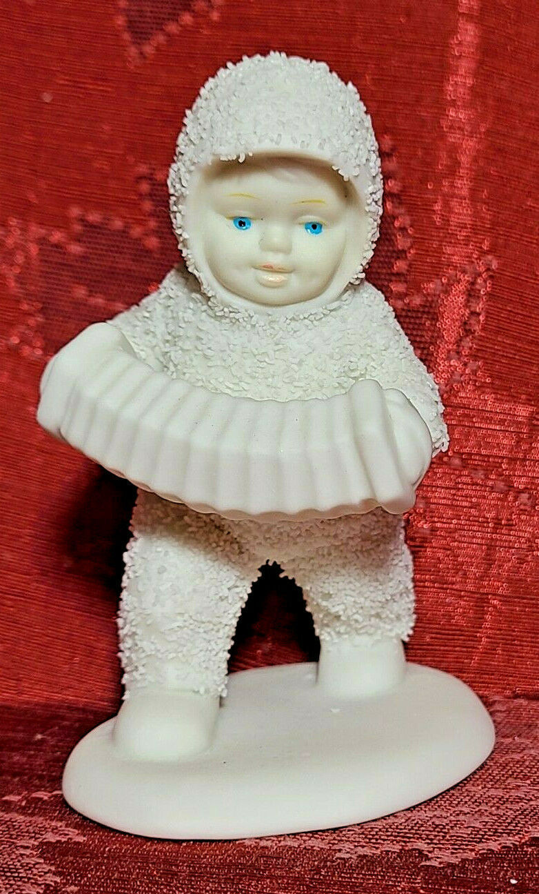 """White 4"""" Department 56 Snowbabies Marching with Accordion Figurine"""