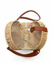 Women's Vegan Bohemian Woven Canteen Handbag Wicker Lined Boho Chic Purse image 4