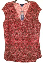 Chaps by Ralph Lauren Womens Plus V Neck Metal Accent Sleeveless Blouse ... - $29.99