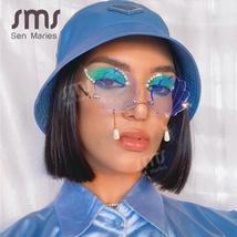 Vintage Rimless Sunglasses Women  Fashion Shell Designer Steampunk Sunglasses Me image 3