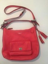 Coach Legacy Leather Courteany Hobo Crossbody Handbag 22381 Bright Coral... - $89.09