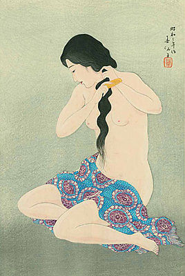 Primary image for Virgin Combing Hair 15x22 Hand Numbered Japanese Print Shunsen Asian Art Japan