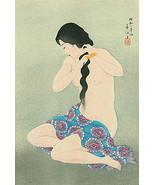Virgin Combing Hair 15x22 Hand Numbered Japanese Print Shunsen Asian Art... - $39.59