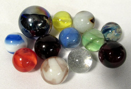 Vintage Shooter Glass Marbles (12) Agate Cat's Eyes Swirls Blue Patch 7/... - $49.49