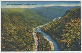 Aerial View Pennsylvania's Grand Canyon Linen Postcard - $5.95