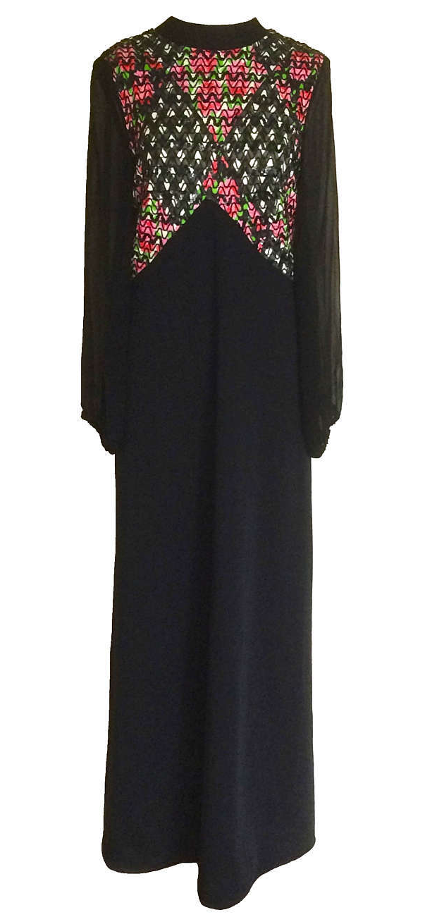 60s Beaded Sequined Sheer Chiffon Balloon Sleeve Black Multicolor MOD Maxi Dress