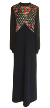 60s Beaded Sequined Sheer Chiffon Balloon Sleeve Black Multicolor MOD Ma... - $41.00