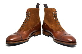 Handcrafted High Ankle Brown Tone Premium Leather Men Lace Up Cap Toe Boots - $149.90+