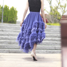 High-low Layered Tulle Skirt Outfit Plus Size Wedding Outfit Purple Tiered Skirt image 9