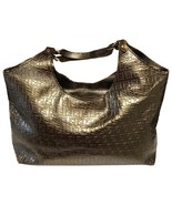 Fendi Metallic Ff Embossed Bronze Leather Hobo Bag - $370.00