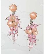 Baroque Pink Aurora Borealis Cut Glass & Lucite... - $29.95