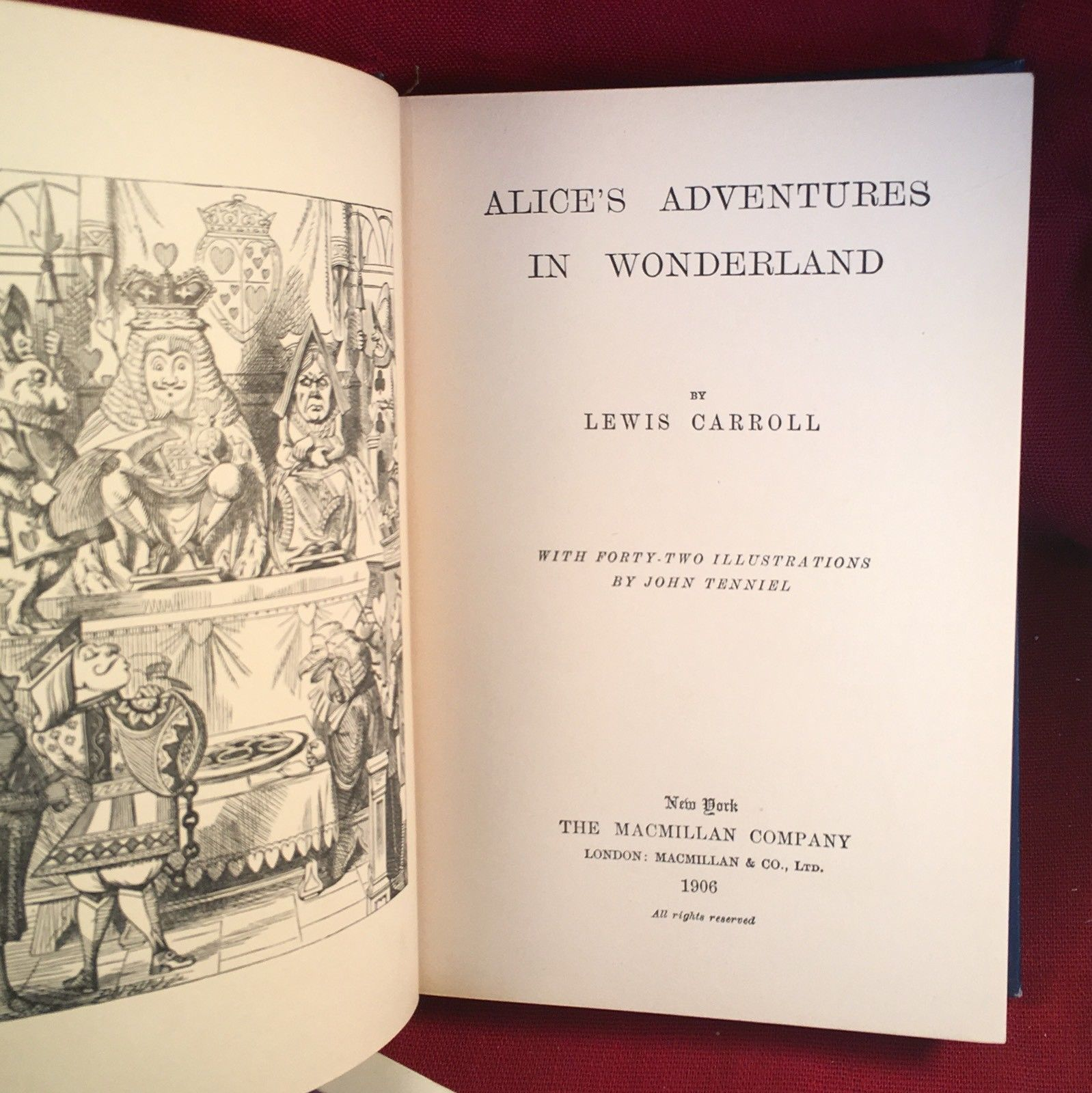 Alice's Adventure's in Wonderland  by Lewis Carroll -Macmillan 1st New Edition.