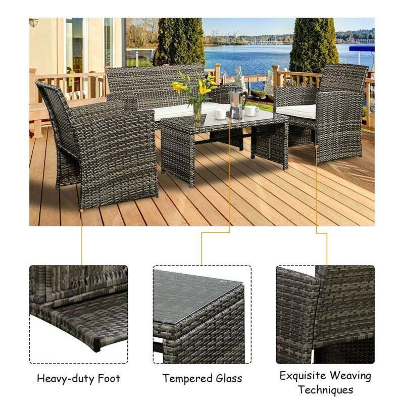 Set of 4 Pcs Rattan Garden Patio Lawn Pool Sturdy Stylish Comfort Furniture
