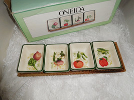 Oneida Fresca 4 Section Server with Rattan Tray - Beautiful! - $23.36